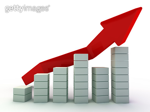Business graph and growth chart. 3D
