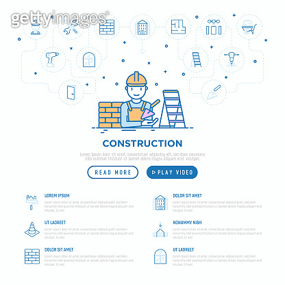 Construction concept with thin line icons: builder in helmet, work tools, brickwork, floor plan, plumbing, drill, trowel, traffic cone, building, stepladder. Vector illustration, web page template.
