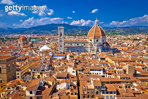 Florence rooftops and cathedral di Santa Maria del Fiore or Duomo view, Tuscany region of Italy