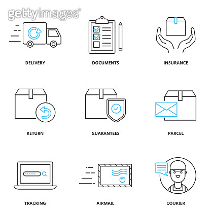 Cargo and shipping vector icons set, outline style