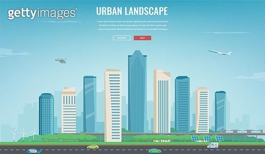 Urban landscape. Modern city. Building architecture, cityscape town. Concept website template. Vector