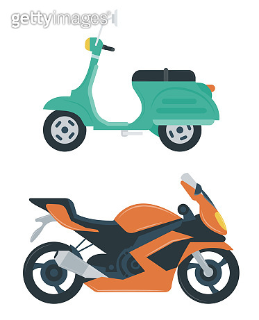 Motorcycle icon. City transport concept. Flat design. Vector