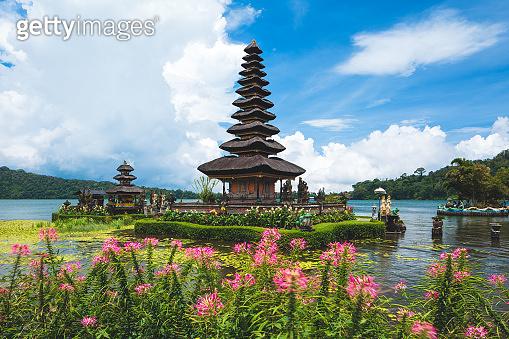 Pura Ulun Danu Bratan temple in Bali island. Beratan lake, Bali, Indonesia