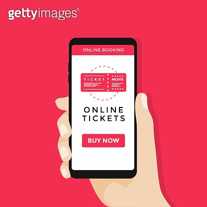 Hand holding mobile smart phone with online cinema ticket.