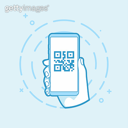 QR code icon on smartphone screen. Hand holding smartphone.