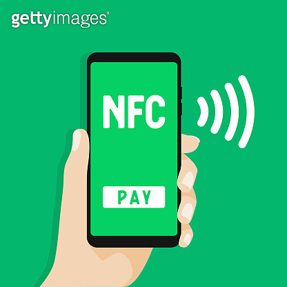 NFC Mobile payment. Hand holds smartphone with online banking and touch pay button.