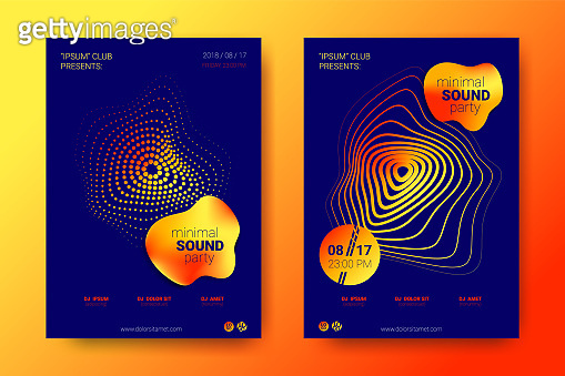 Colorful Music Placards with Wave Distorted Rounds.