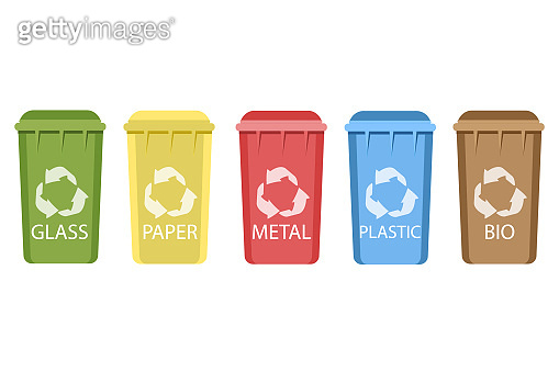 Colored recycling bin