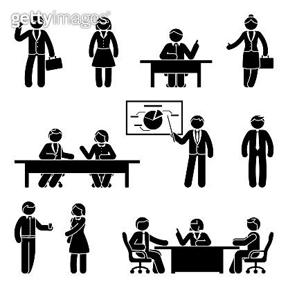 Stick figure business communication icon set. Vector illustration of presentation, negotiation, discussion on white