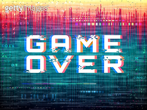 Game over text. Video game glitch. Color distortions and pixel noise. Digital error template. Retro vhs effect. Abstract bright design. Analog backdrop. Modern vector illustration