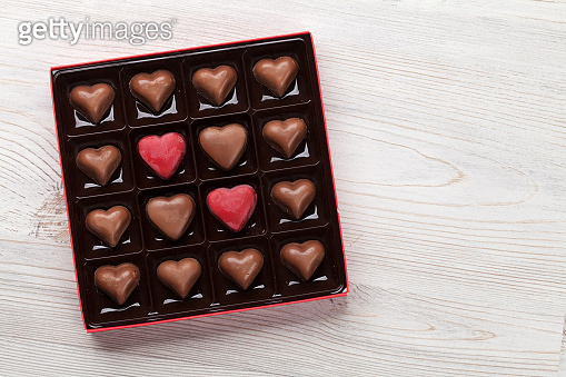 Heart shaped chocolate in box