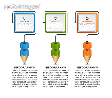 Infographics template with pencil. Can be used for education or business presentations, information banner.