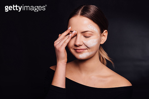 Girl making peel mask, cosmetology and beauty