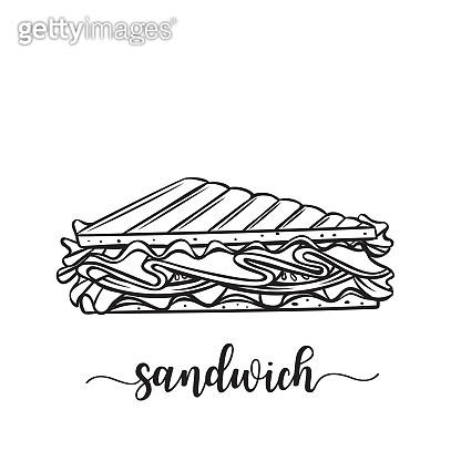 hand drawn sandwich badge