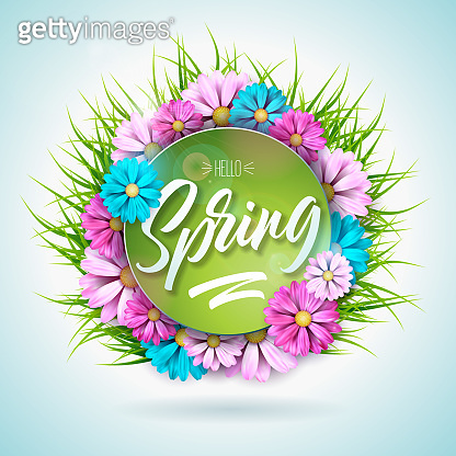 Spring nature design with beautiful colorful flower on green grass background. Vector floral design template with typography letter.