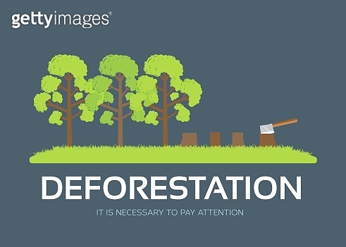 issue deforestation in flat design background concept. Ecological natural problem. Icons for your product or illustration