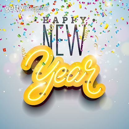 2019 Happy New Year illustration with Bright Neon Light Lettering and Falling Confetti on White Background. Holiday Design for Flyer, Greeting card, Banner, Celebration Poster, Party Invitation or Calendar.