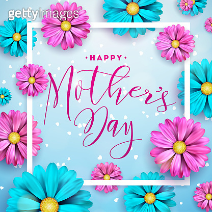 Happy Mothers Day greeting card design with flower and typographic elements on blue background. Vector Celebration Illustration template for banner, flyer, invitation, brochure, poster.