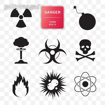 Danger icon set. Biohazard