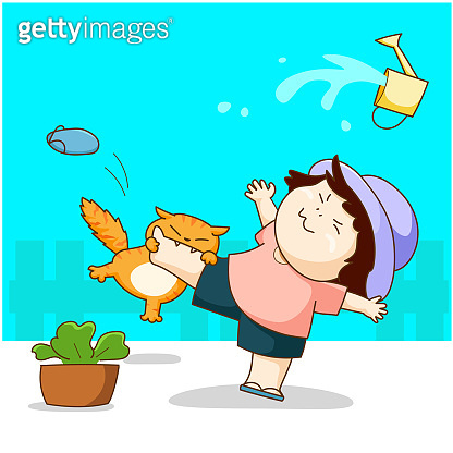 Funny cat play with the girl and bite her leg vector.