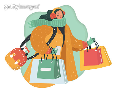 Happy lady holding phone and shopping bags