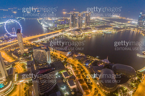 Aerial view Panoramic of the Singapore Skyline and Marina Bay, the marina is the centre of the economy in singapore, there are here all the building in singapore central