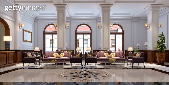 Waiting area in the beautiful interior of a luxury hotel.