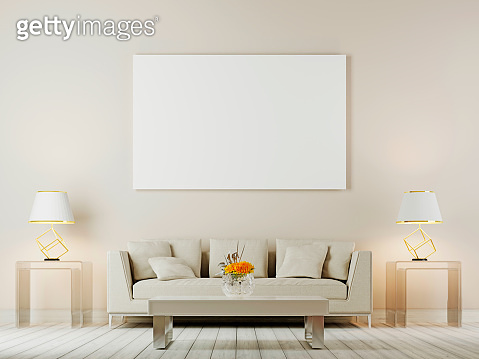 Living room interior wall mock up with white sofa, pillows and lamps on brown background