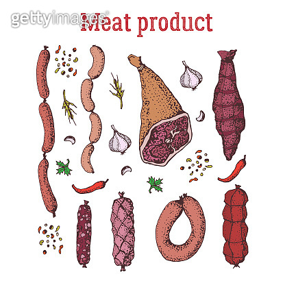 Set of meat product with spices. Isolated on white. Hand drawn. Bacon, sausage, stick of salami, frankfurters, ham, beaf.  Elements for textile, fabric, restaurant, meat shop.