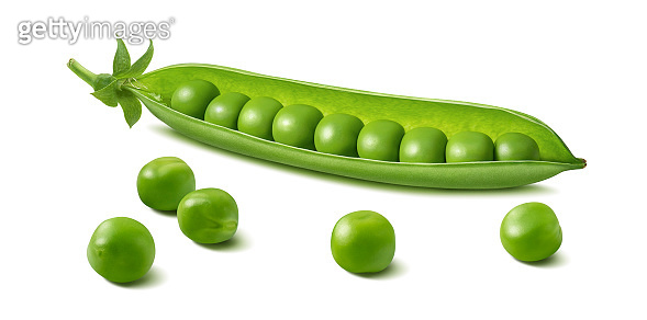 Fresh green pea pod with beans isolated on white background