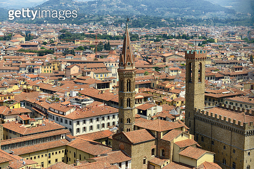 Beautiful view of Florence from Palazzo Vecchio in Florence, Italy