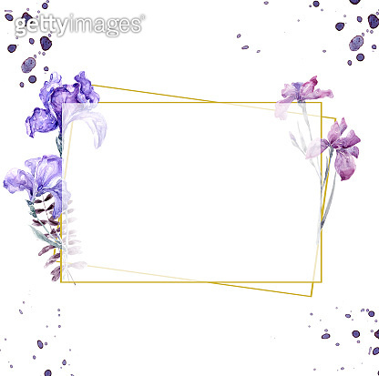 Wedding Invitation, floral invite card, watercolor iris pink floral and green leafs geometric golden frame print. Polygonal Rhombus Rectangle frame. White background
