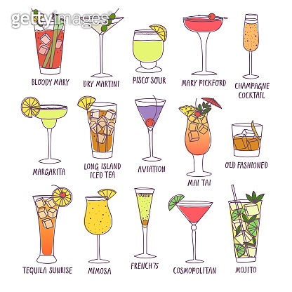 Set of doodle cocktails with names.