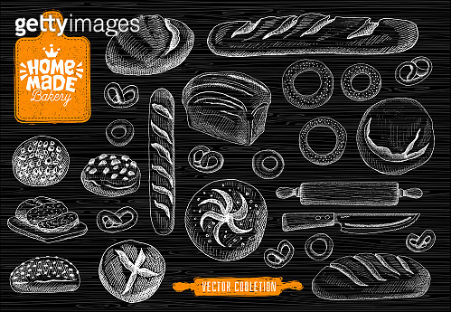 Home made bakery symbol, baking, bread vector collection. Bakery house symbol design, food shop. bread, baguette, bagels, home baking,