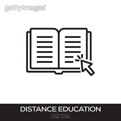 DISTANCE EDUCATION LINE ICON