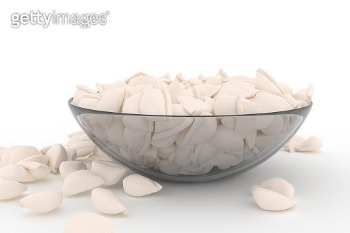 raw Dumplings with Minced Meat also known as Pelmeni, Gyoza, Dim Sum, Jiaozi, Momo, Tortellini, Pierogi, Varenyky, Mandu or Ravioli in glass dish  on white background. Pelmeny closeup. 3D render