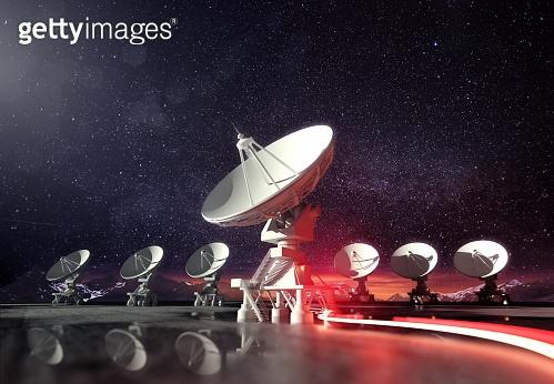 Astronomy - Radio Telescopes Pointing Upwards at Night