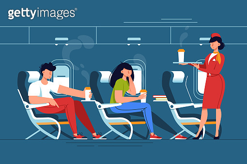 Man and woman with stewardess relax with drinks in thje plane.