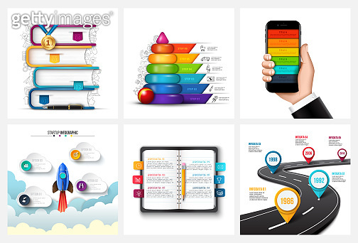 Vector road, children pyramid, mobile phone, rocket, books and notebook. Education, startup, timeline and business infographics.