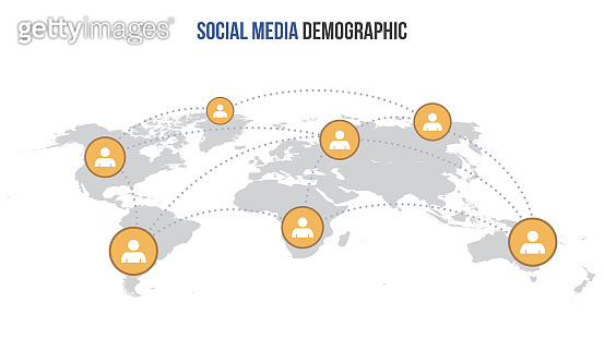 Vector social media infographic map. Global network connection.
