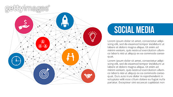 Vector illustration global social media concept. Infographic abstract elements.