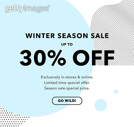 30% OFF Special Offer Price Discount. Winter Season Sale Promotion banner Design Template. Newsletter Template, Flyer, Coupon Trendy Design.
