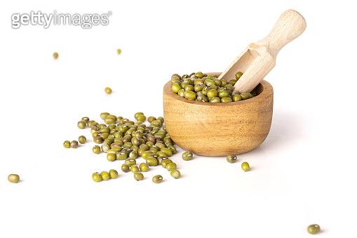 Dry green mung beans isolated on white