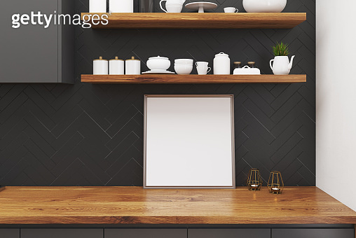 Wooden kitchen table, square poster
