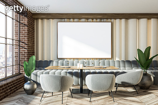 Brick wall gray sofas cafe interior mock up poster