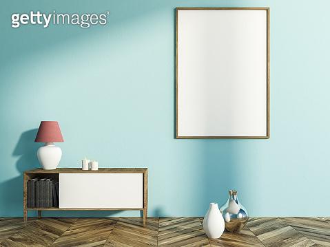 Light blue living room, set of drawers, poster
