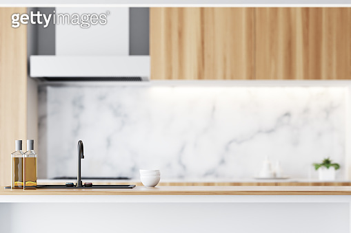Wooden and marble countertop