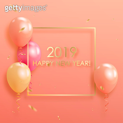 Happy new year 2019 with colorful  helium balloons floating on pastel colored background with golden confetti. Christmas and new year holiday concept