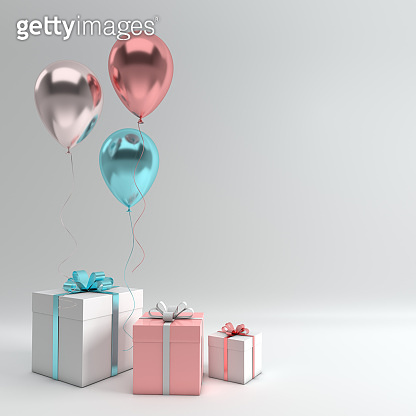 3d render illustration of realistic silver, blue and rose gold balloons and gift box with bow on white background. Empty space for party, promotion social media banners, posters.