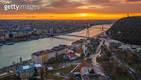 Budapest, Hungary - Golden sunrise over Budapest, with Elisabeth Bridge, Liberty Bridge